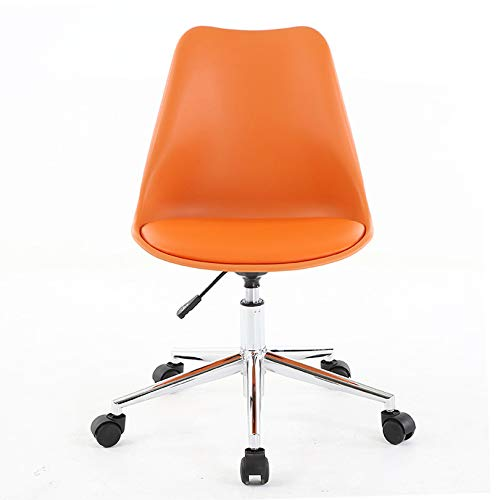 XM&LZ Pu Leather Low-Back Office Chair,Adjustable Rolling Computer Task Chair with Lumbar Back Support,Modern Home Swivel Desk Chair-Orange 19x17x16in