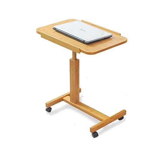 Beistelltisch Beistelltisch Schreibtischende Nachttisch Beweglicher Computertisch Mit Riemenscheibe Nachttisch Sofa Beistelltisch Bambustisch Couchtisch FENPING (Color : Wood, Size : 60 * 40cm)