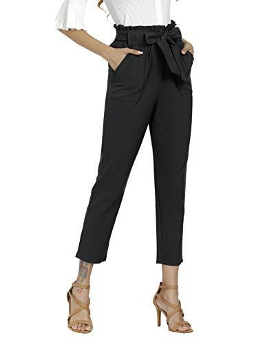 Freeprance Women's Pants Casual Trouser Paper Bag Pants Elastic Waist Slim Pockets XBK L Black