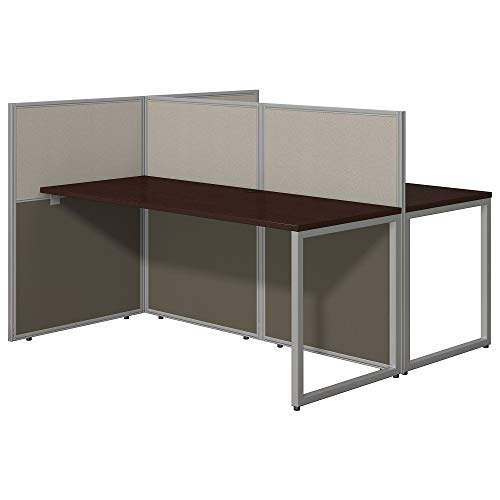 Bush Business Furniture Easy Office 60W Two Person Straight Desk Open Office in Mocha Cherry