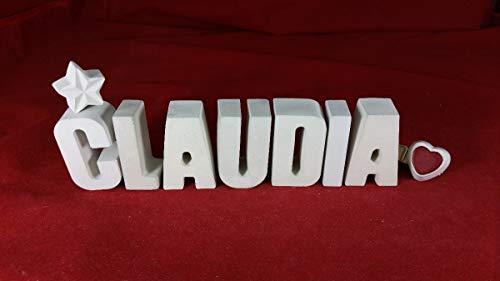 Beton, Steinguss Buchstaben 3D Deko Namen CLAUDIA mit Stern und Herzklammer als Geschenk verpackt! Ein ausgefallenes Geschenk zur Geburt, Taufe, Geburtstag, Namenstag oder auch zu anderen Anlässen.