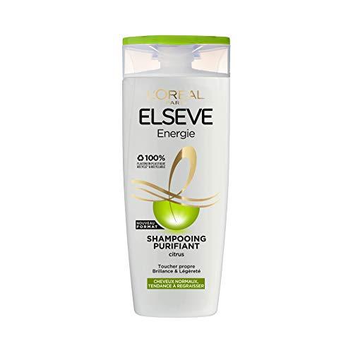 L'Oréal Paris Elseve Energie Shampooing Purifiant pour Cheveux Normaux Ayant Tendance à Regraisser Enrichi en Citrus 1 Unité