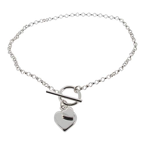 Touch Jewellery 925 Sterling Silver Fine Belcher Chain Bracelet with T-bar and Hearts