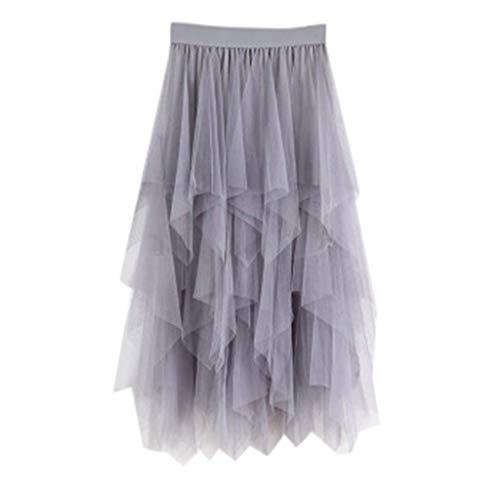 VEMOW Faldas Mujer cómoda de Tul de Cintura Alta Falda Plisada del tutú de Las señoras Falda de Midi(Gris,Una Talla)