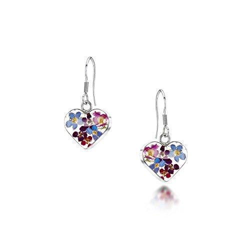 Shrieking Violet Sterling Silver Purple Haze Real Flower Heart Drop Earrings