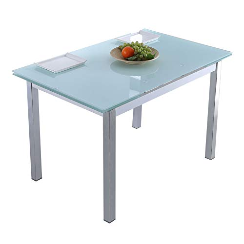 Adec - Milan, Mesa de Comedor salón o Cocina Extensible, Mesa Acabado en Cristal Color Blanco, Medidas: 120-180 cm (Largo) x 75 cm (Fondo) x 75 cm (Alto)
