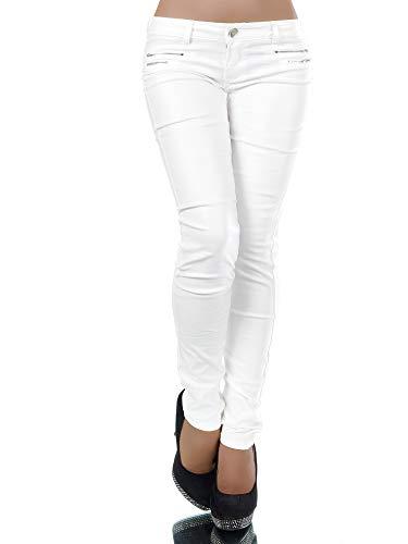 Damen Jeans Hose Hüfthose Damenjeans Hüftjeans Röhrenjeans Leder-Optik L521, Farbe: Weiß, Größe: 36 (S)
