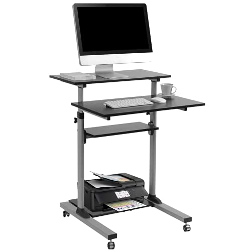 TechOrbits Rolling Desk for Laptop - Standing or Sitting Mobile Computer Cart with Wheels, Adjustable Height & 27.5-inch Surface - Portable Home Office Workstation - Black