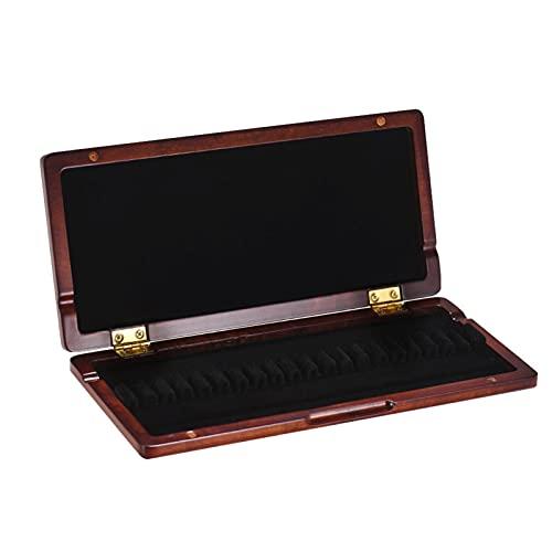 20 unids oboe reed caoba contenedor reed bastidor caja de almacenamiento caja de madera caja de madera con tela suave interior Accesorios de instrumentos musicales Clarinete