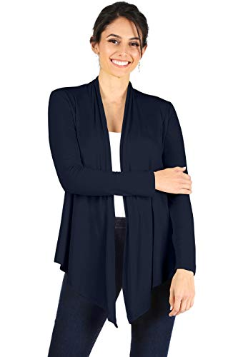 Simlu Womens Open Drape Cardigan Reg and Plus Size Cardigan Sweater Long Sleeves - USA ,Navy ,X-Large