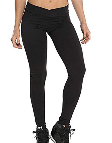 Ularma Damen Fitnesshose Übung Stretch Leggings Hüfte Push-Up Skinny Hose (S, Schwraz)