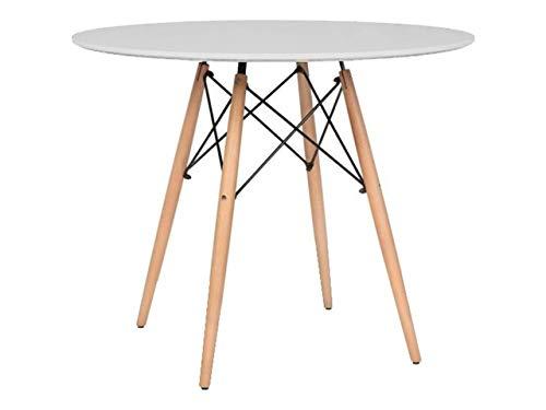 Mirjan24 Esstisch Fiorino Runde, Kaffeetisch, Küchentisch Modern Büro Konferenztisch, Esstisch Küche Holz Kaffee Tee Büro (Weiß)