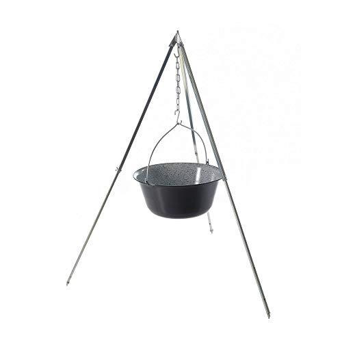 Original ungarischer Gulaschkessel (40 Liter) + Dreibein-Gestell (170cm) ✓ Emailliert ✓ Kratzfest | Verzinktes Teleskop-Dreifuß mit Gulasch-Topf, Suppentopf | Kochkessel für Kesselgulasch im Set