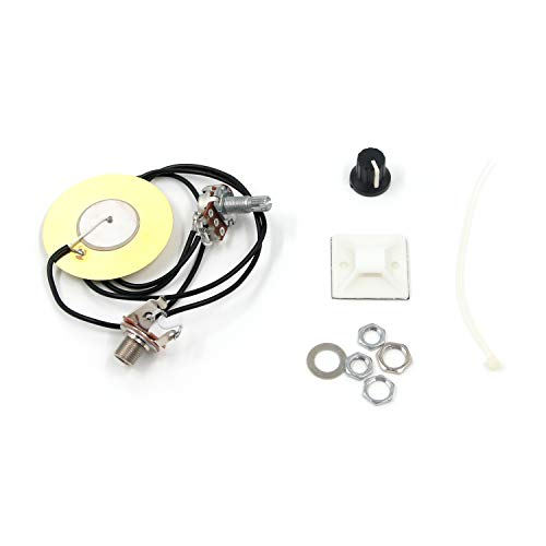FarBoat Pickup Piezo 50mm Sensitive Transducer Self-Adhesive Prewired Amplifier Wiring Kit 6.35mm/ 1/4' Output Jack for Acoustic Guitar, Cigar Box Guitar, Ukulele, Mandolin