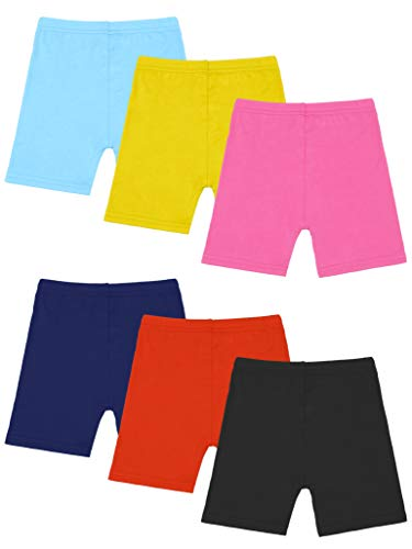 Resinta 6 Pack Black Dance Shorts Girls Bike Short Breathable and Safety 6 Color (Yellow,Orange,Navy,Black,Light Blue,Pink, 6-7 Years)
