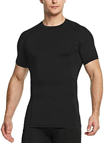 TSLA Men's Cool Dry Short Sleeve Compression Shirts, Athletic Workout Shirt, Active Sports Base Layer T-Shirts, Active(mub33) - Black, Medium