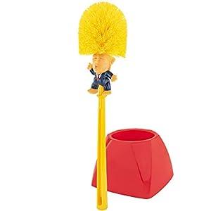 Fairly Odd Novelties Donald Trump Toilet Bowl Brush W/Holder Perfect White Elephant Novelty Gag Political Gift Make Bathrooms Again, Yellow