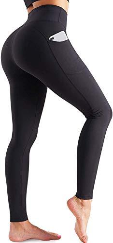 Chumian Leggings Donna Fitness Pantaloni da Yoga Vita Alta Tasca Tasche Elastici Allenamento Palestra (Nero, S)