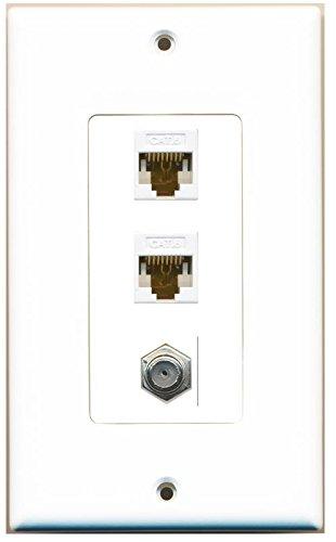 RiteAV Decorative 1 Gang Wall Plate (White/White) 3 Port - 2 x Cat6, 1 x Coax