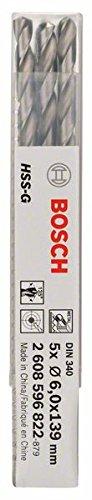 Bosch Professional Metallbohrer HSS-G geschliffen mit langer Arbeitslänge (5 Stück, Ø 6 mm)