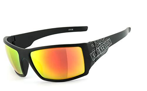 King Kerosin®   UV400 Schutzfilter, HLT® Kunststoff-Sicherheitsglas nach DIN EN 166   Bikerbrille, Motorradbrille, Sportbrille   Brillengestell: schwarz matt, Brille: KK220