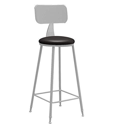 JIEER-C leerstoel barkruk, ontbijtkeuken tekenstoel barmeubel metalen achterkant kunstleer beklede zitting metalen poot hoge kruk opslaggewicht 150 kg zithoogte 65 cm (kleur: zwart) grijs