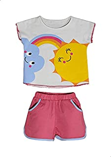 Jockey Printed Short Sleeves Round Neck T-shirt with Plain Shorts Pajama Set for Girls - Grey and Nude, 18-24 Months