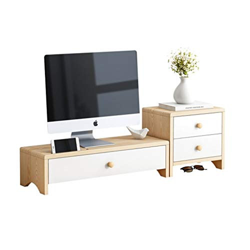 Soporte Libros Soporte de elevador del monitor de la computadora con el estante del estante del cajón Organizador del teclado de la impresora de escritorio del almacenamiento del teclado para el hogar