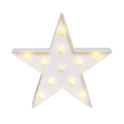 GUOCHENG Lovely Star LED Night Light Battery Operated LED Marquee Sign Decorative Table Lamps for Baby Children Bedroom Nursery Christmas Birthday Party(White)