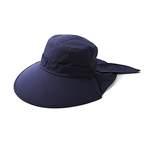 LIHUAN Sombrero De Playa Plegable con Visera Anti-Ultravioleta De Verano para Mujer,Navyblue