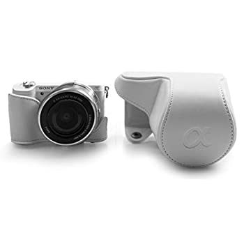 kinokoo PU Leather Camera Case with a Half Case Compatible for Sony A5000 A5100 NEX-3N and 16-50mm Lens White