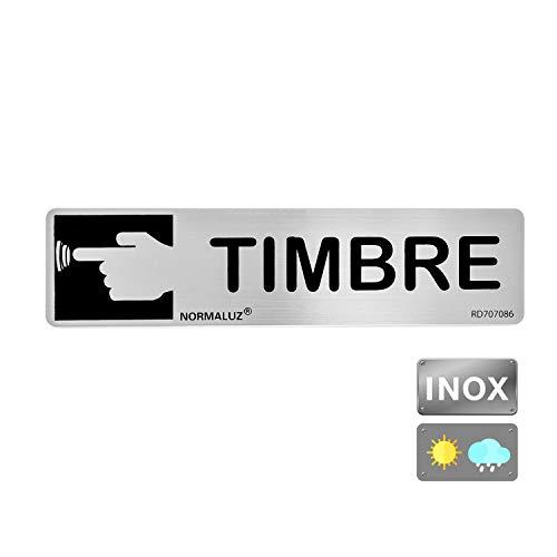 Normaluz RD707086 - Señal Adhesiva Rectangular Timbre Acero Inoxidable Adhesivo 0.8 mm 5 x 20 cm, Gris