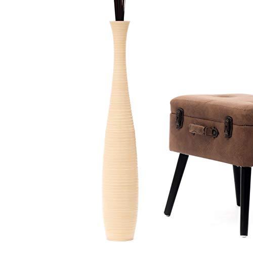 Leewadee Große Bodenvase für Dekozweige hohe Standvase Design Holzvase 75 cm, Mangoholz, Creme