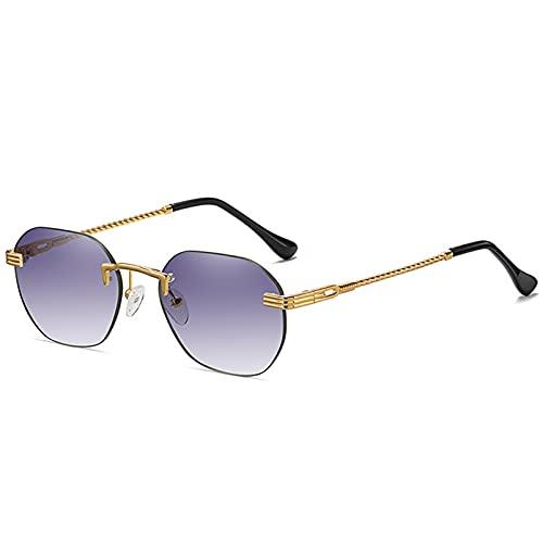 LUBENWEI Gafas de Sol sin Marco de Metal Hombres y Mujeres Calle Pequeño Marco Moda Gafas de Sol de Moda Gafas de Sol Multicolor Multicolor (Color : Deep Purple)