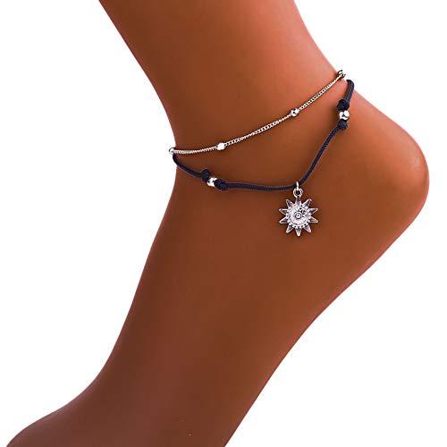 Pulsera de tobillo vintage para mujer, joyería de pie de Buda de verano, playa, tobillera para niñas, decoración de regalo