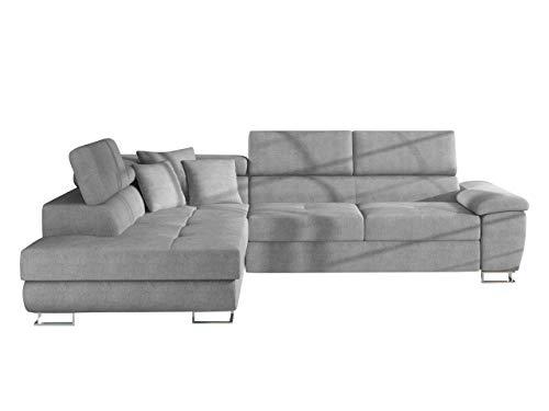 Mirjan24 Ecksofa Cotere LED Beleuchtung mit Fernbedienung, Eckcouch mit Bettkasten und Schlaffunktion Couch L-Sofa Farbauswahl Wohnlandschaft vom Hersteller (Alfa 17, Seite: Links)