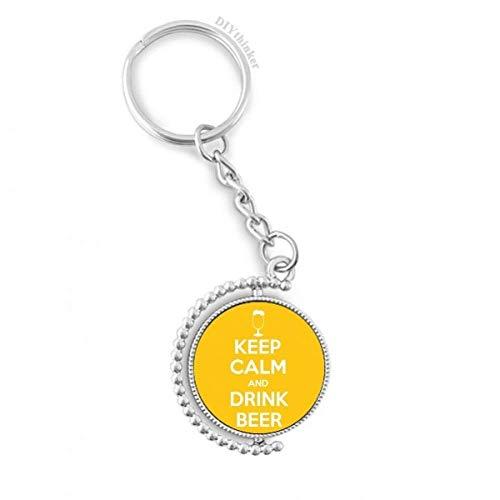 DIYthinker Zitat Behalten Sie Ruhe und Trinken Bier Gelb Drehbare Schlüsselanhänger Ringe 1.2 Zoll x 3.5 Zoll Mehrfarbig