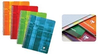 "Clairefontaine Wirebound Graph Notebook with 8 Tabs 4.25x6.75"" - Various Colors"