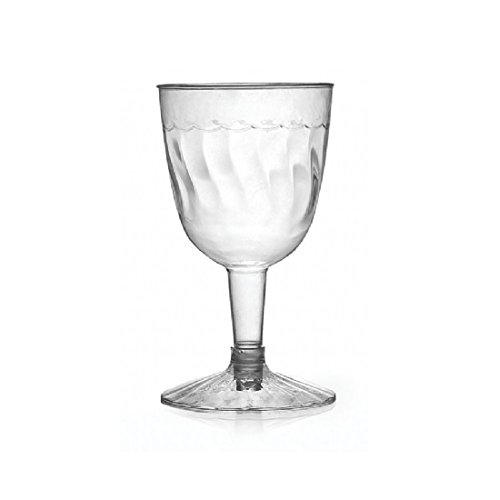 Fineline Settings 2206-CL, 5 Oz. 2-Piece Flairware Clear Plastic Wine Goblets, Red White Wine Disposable Catering Plastic Glasses (100)