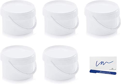 MARKESYSTEM - Cubo HERMÉTICO Pack de 5 x 0,55 litros (550 ml) - Contenedores Apilables con Tapa - Envase Alimentos, Catering Industrial, Líquidos y Pinturas - Polipropileno + Kit Etiquetado