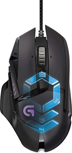 Logitech G502 Proteus Spectrum RGB Tunable Wired Gaming Mouse, 12,000 DPI, Adjustable Weights, 11 Programmable Buttons, Compatible with PC/Mac - Black (German Packaging)