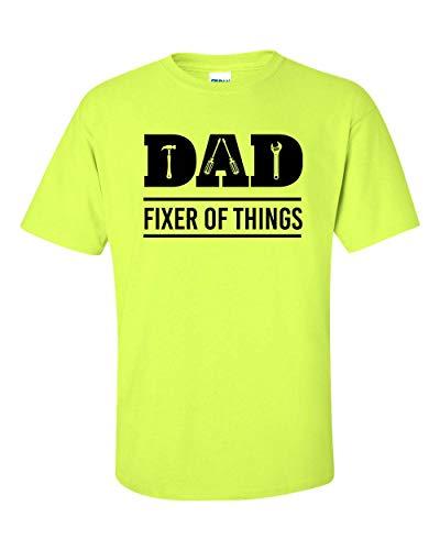 Camiseta masculina de manga curta para o Dia dos Pais, Papai Fixer of Things, Safety Green, 3X-Large