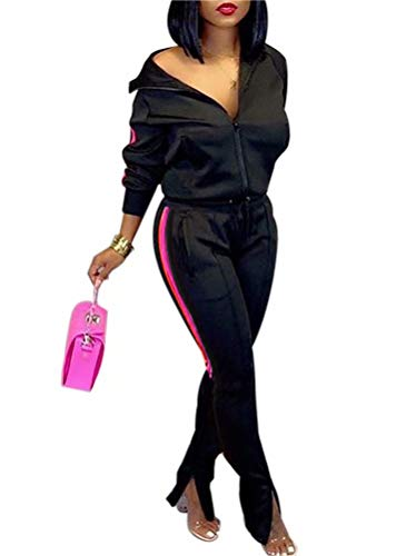Women's Tracksuit Sets Zipper Coat and Elastic Waistband Pant Sport 2 Piece Outfits Black M
