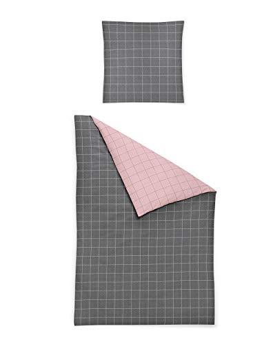 Irisette Biber Bettwäsche 135x200 2tlg grau rosa | Bettwäsche-Set aus 100% Baumwolle | 2 teilige Wende-Bettwäsche 135x200 cm & Kissen 80x80 cm | Quadrat Geometrisches Muster (4 teilig 135 cm x 200 cm)