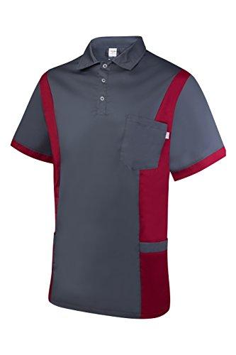 Clinotest Herrenkasack Julius, Gesundheitswesen, für die Pflege, Berufsbekleidung, in Trendfarben (XL, grau/brombeer)