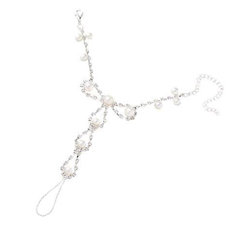 DINEGG Pulsera de Pulsera de Pulsera de Dedos Pulsera de Cadena de Perlas de Estilo geométrico con Anillo de Dedo arnés Decorativo de Pulsera para Mujeres Damas QQQNE
