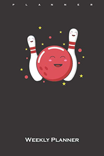 Happy bowling ball with pins Weekly Planner: Weekly Calendar (Daily planner with notes) for Friends and fans of the precise bowling sport