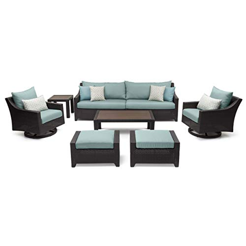 RST Brands Deco 8 Piece Sofa and Motion Club Chair Set Spa Blue