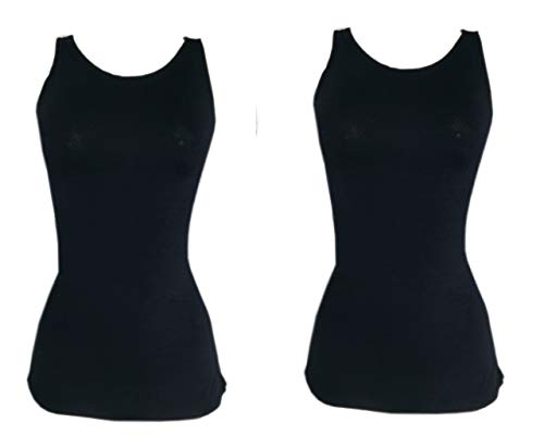 Kit 2 Regata Mullet Plus Size Lisa Feminina Moda PRETO-PRETO G3