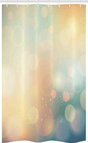 ABAKUHAUS Abstrakt Schmaler Duschvorhang, Ocean Themed Sonnenstrahlen, Badezimmer Deko Set aus Stoff mit Haken, 120 x 180 cm, Hellgrün & Dunkelblau